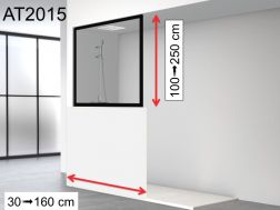Shower wall, wall mounted, aluminum profile black - 90 x 150 - ATELIER 2015