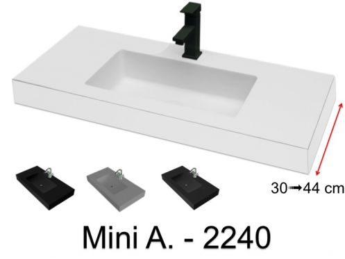 Washbasin top 121 x 40 cm, suspended or recessed, in mineral resin - MINI A. 2240