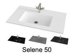 Washbasin top 141 x 46 cm, suspended or recessed, in mineral resin - SELENE 50