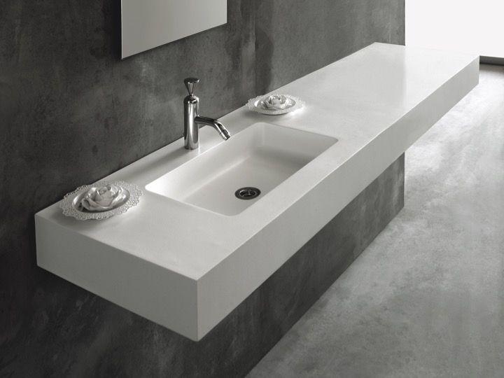 Bathroom Vanity Top 70 X 50 Cm Suspended Basin In Mineral Resin Custom Made Atenea