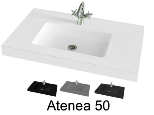 Washbasin top, 100 x 50 cm, suspended or table top, in mineral resin - ATENEA 50