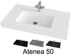 Washbasin top, 200 x 50 cm, suspended or table top, in mineral resin - ATENEA 50