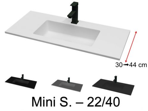 Washbasin top 100 x 40 cm, suspended or recessed, in mineral resin - MINI S. 2240