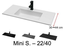 Washbasin top 110 x 40 cm, suspended or recessed, in mineral resin - MINI S. 2240