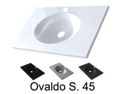 Vanity top, 91 x 46 cm, suspended or recessed, oval - OVALADO S. 45