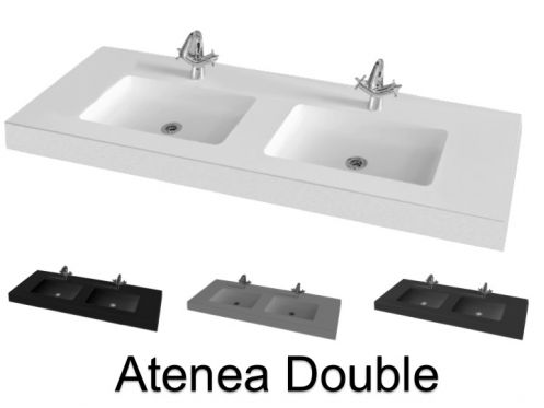Double washbasin top, 180 x 50 cm, hanging or standing - ATENEA DOUBLE