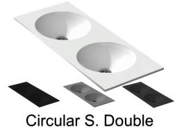 Double washbasin top, 121 x 46 cm, suspended or recessed, round - CIRCULAR S. Double