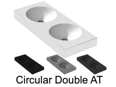 Double washbasin top, 120 x 50 cm, hanging or standing, round shape - CIRCULAR A. Double
