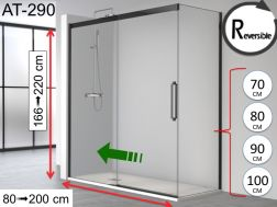 Sliding shower door, 140 x 195 cm, with fixed return and black profile - ATELIER 290