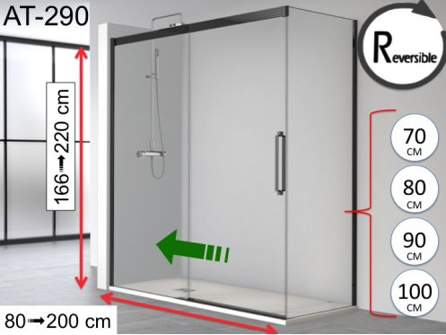 Sliding shower door, 180 x 195 cm, with fixed return and black profile - ATELIER 290