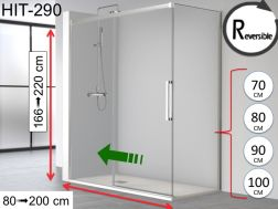 Sliding shower door, 100 x 195 cm, with fixed return - HIT 290