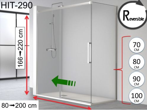 Sliding shower door, 180 x 195 cm, with fixed return - HIT 290