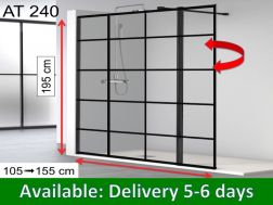 Shower enclosure with flap, 110 __plus__ 35 x 195, 35 cm swivel shutter - atelier 240