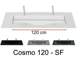 Double washbasin top, 141 x 46 cm, washbasin washbasin - COSMO 120 SF Double