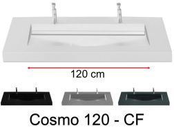 Double washbasin top, 160 x 50 cm, washbasin washbasin - COSMO 120 CF