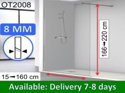 Shower screen 90 x 195 cm, fixed panel, glass 8 mm - OT2008
