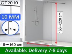 Shower screen 160 x 195 cm, fixed panel, glass 10 mm - OT2010