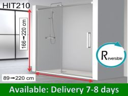 Sliding shower door, 165 x 195 cm, fixed glass with sliding door - HIT210