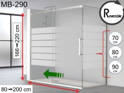 Sliding shower door, 140 x 195 cm, with fixed return and screen-printed glass - MB290