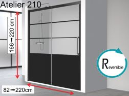 Sliding shower door, 140 x 195 cm, industrial art deco style, with black profile - ATELIER 210B