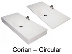 Washbasin top with integrated round washbasin, 50 x 80 cm, in Solid Surface Corian type mineral resin - DOUBLE CIRCULAR RG