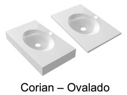 Washbasin countertop with integrated oval basin, 50 x 80 cm, in Corian Solid Surface mineral resin - OVALADO RG