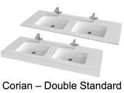 Double vanity top, 50 x 120 cm, in Solid Surface Corian type mineral resin - DOUBLE STANDARD RG