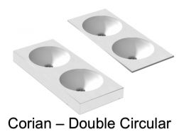 Round double vanity top, 50 x 100 cm, in Corian Solid Surface mineral resin - DOUBLE CIRCULAR RG