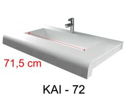 Vanity top, 40 x 80 cm, solid mineral resin corian type surface - KAI 05