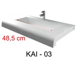 Vanity top, 40 x 60 cm, solid mineral resin corian type surface - KAI 03