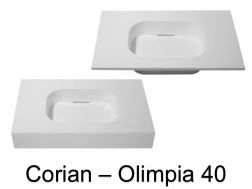 Design vanity top, 50 x 80 cm, in Corian Solid Surface mineral resin - OLIMPIA 40 RG