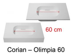 Design vanity top, 50 x 80 cm, in Corian Solid Surface mineral resin - OLIMPIA 60 RG