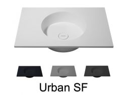Washbasin top, 120 x 50 cm, hanging or standing, round shape - URBAN SF