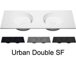 Double washbasin top, 100 x 50 cm, hanging or standing, round shape - URBAN double SF