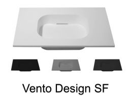 Design vanity top, 100 x 50 cm, suspended or standing, in mineral resin - VENTO 40 SF