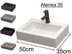Washbasin, colors, 50 x 35 cm, mineral resin - ATENA 35