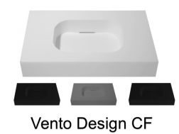 Design vanity top, 80 x 50 cm, suspended or standing, in mineral resin - VENTO 40 CF