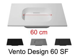 Design vanity top, 110 x 50 cm, suspended or standing, in mineral resin - VENTO 60 SF