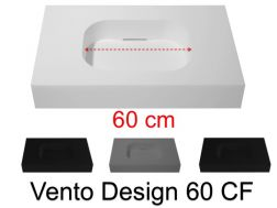 Design vanity top, 80 x 50 cm, suspended or standing, in mineral resin - VENTO 60 CF