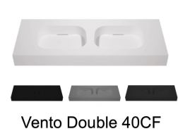 Double washbasin top, 140 x 50 cm, suspended or table top, in mineral resin - VENTO 40 CF
