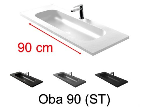 Double vanity top, 50 x 100 cm, suspended or recessed, in mineral resin - OBA 90 ST