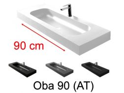 Double vanity top, 50 x 100 cm, suspended or recessed, in mineral resin - OBA 90 AT
