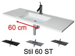 Washstand, 50 x 190 cm, suspended or recessed, in mineral resin - STIL 60 ST