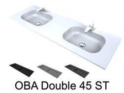 Double vanity top, 50 x 120 cm, suspended or recessed, in mineral resin - DOUBLE OBA 45 ST