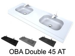 Double vanity top, 50 x 120 cm, suspended or recessed, in mineral resin - DOUBLE OBA 45 AT
