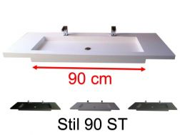 Double vanity top, 50 x 180 cm, suspended or recessed, in mineral resin - STIL 90 ST