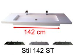 Double vanity top, 50 x 190 cm, suspended or recessed, in mineral resin - STIL 142 ST