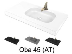 Washstand, 50 x 180 cm, suspended or recessed, in mineral resin - OBA 45 AT