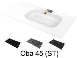 Washstand, 50 x 190 cm, suspended or recessed, in mineral resin - OBA 45 ST