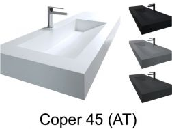Washstand, 50 x 190 cm, suspended or recessed, in mineral resin - COPER 45 AT